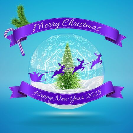 Merry Christmas Glass Snow Ball with xmas treem flying santa and happy new year greeting. Vector illustration for card, flyer, artwork, poster, banner. Çizim