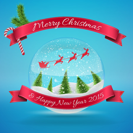 Merry Christmas Glass Snow Ball with xmas tree and happy new year greeting. Vector illustration for card, flyer, artwork, poster, banner. Vector