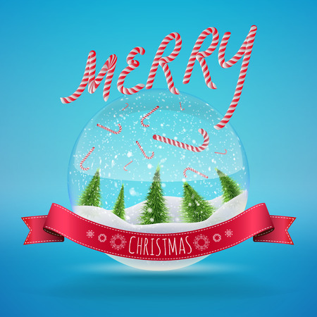 Glass Snow Ball with falling candies and merry christmas greeting. Vector illustration for card, flyer, artwork, poster, banner.