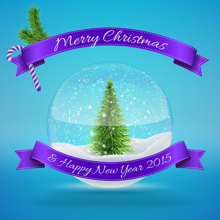 christal: Glass Snow Ball with xmas tree, merry christmas and happy new year greeting. Vector illustration for card, flyer, artwork, poster, banner.