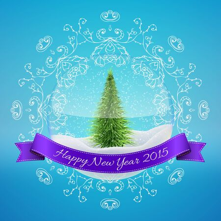 christal: Christmas Glass Snow Ball with xmas tree and happy new year greeting. Vector illustration for card, flyer, artwork, poster, banner.