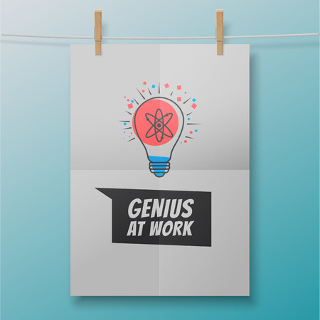Genius at work poster like atom within lightbulb illustration and quote on a white folded sheet. Vector artwork concept.