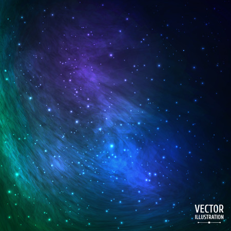 Colorful Green and Blue Cosmic Background with Light, Meteors, Shining Stars, Stardust, Nebula. Vector Illustration for artwork, party flyers, posters, banners.