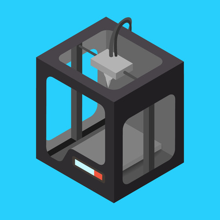 Black Isometric 3D Printer on a Blue Background. Vector Illustration