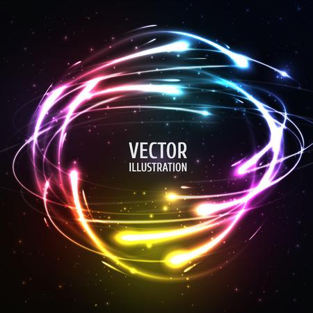 Luminoso luces de neón como meteoros en Esfera. Ilustración del vector para las ilustraciones, folletos partido, carteles, banners
