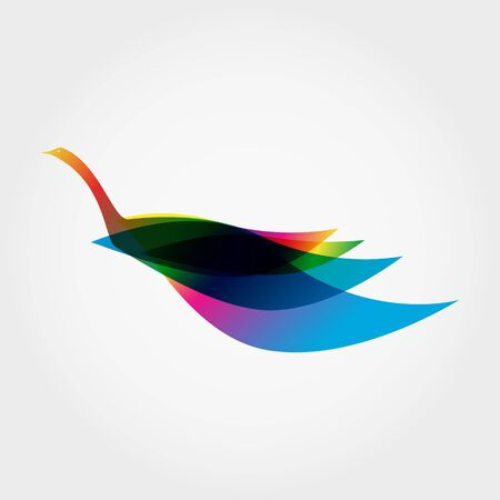 Silhouette of Rainbow Bird Like a Swan. Vector illustration.