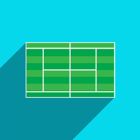 Grass Tennis Court in Flat Style. Vector Illustration.