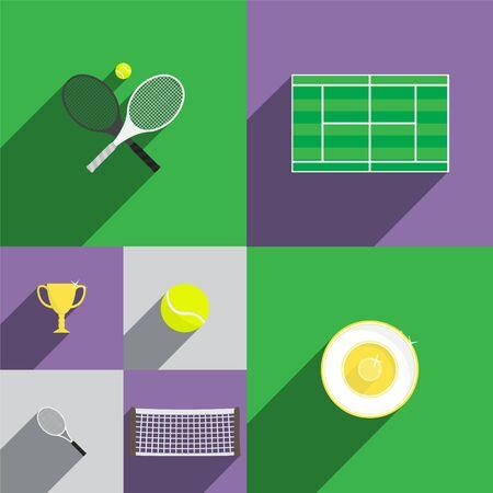 raqueta de tenis: Tenis Icon Set in Style plana con raquetas, tenis, Copa, Trofeo, Ball y neto. Ilustración vectorial