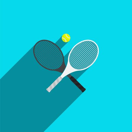 Tennis Rackets and Ball in Flat Style. Vector Illustration.