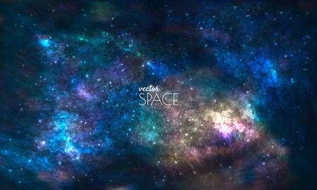 kosmos: Raum-Galaxie-Hintergrund mit Nebel, stardust und hell leuchtenden Sternen. Vektor-Illustration für Ihr Design, Kunstwerke