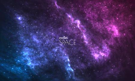 Fond de galaxie cosmique avec nébuleuse, poussière d'étoile et étoiles brillantes. Illustration vectorielle pour votre conception, oeuvres d'art Vecteurs