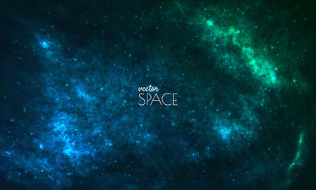 Space Galaxy Achtergrond met nevel, stardust en stralende sterren. Vector illustratie voor uw ontwerp, kunstwerken Stock Illustratie