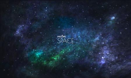 Raum-Galaxie-Hintergrund mit Nebel, stardust und hell leuchtenden Sternen. Vektor-Illustration für Ihr Design, Kunstwerke Vektorgrafik