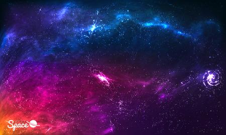 Bunte-Raum-Galaxie-Hintergrund mit leuchtenden Sternen, Stardust und Nebel. Vektor-Illustration für Kunstwerk, Party Flyer, Plakate, Broschüren