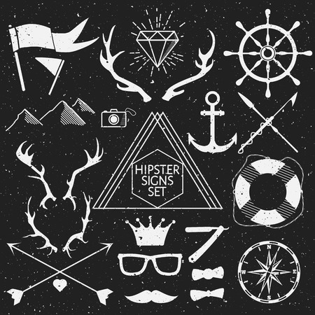 Hipster signs set. Vector Illustration