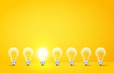 'odd one out': Standing in a row light bulbs with glowing one on a yellow background. Unlike others or odd man out concept. Vector illustration