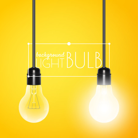 Two hanging light bulbs: glowing and turned off on a yellow background with copy space. Vector illustration for your design