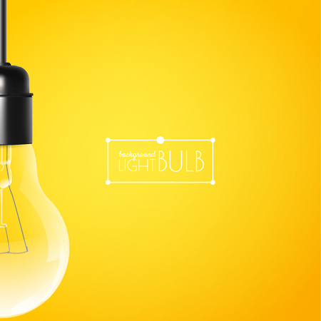 Hanging light bulb on a yellow background with copy space. Vector illustration for your modern design