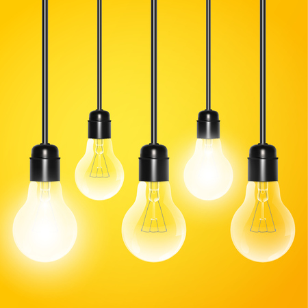 bombillo ahorrador: Hanging light bulbs with a few glowing on a yellow background. Vector illustration for your design.