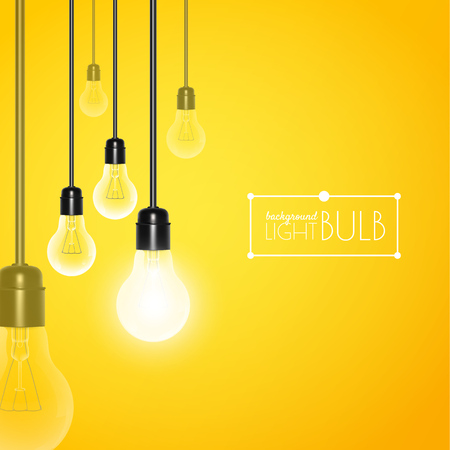 Hanging light bulbs with glowing one on a yellow background. Vector illustration for your design. Ilustração