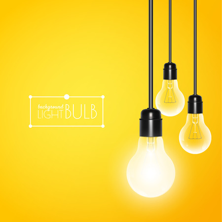 Hanging light bulbs with glowing one on a yellow background. Vector illustration for your design. Stock Illustratie