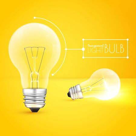 Two light bulbs: standing and lying one on a yellow background. On and off modes. Vector illustration for your design Çizim