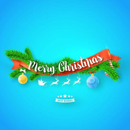 Merry Christmas greeting card with red ribbonm, xmas tree and snow on blue background. Vector illustration for your modern design. Çizim