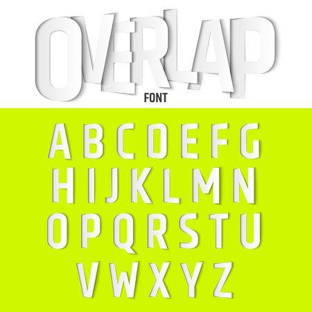 papier a lettre: Vector Alphabet avec Ovelapping lettres, papier moderne Cut Style de police
