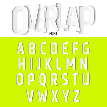 Vector Alphabet with Ovelapping Letters, Modern Paper Cut Font Style Иллюстрация