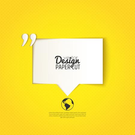 Quote bel met aanhalingsteken op gele achtergrond. Vector ontwerp voor presentaties, aanbiedingen of uw tekstberichten Vector Illustratie