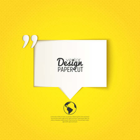 Quote bubble with quotation mark on yellow background. Vector design for presentations, offers or your text messages