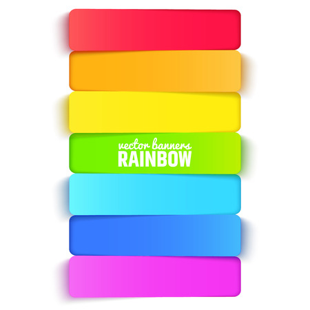 Rainbow horizontal banners, colorful background. Vector illustration for presentations, brochures, infographics or web sites