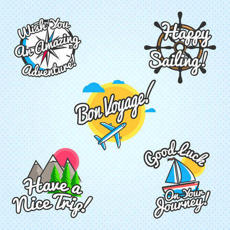 Travel wishes and greetings set. Vector illustration for touristic greeting cards, brochures, posters Çizim
