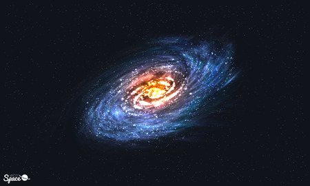 Spiral Galaxy on Cosmic Background. illustration for your artwork Illustration