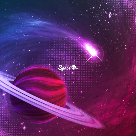 Comet flying around the planet with rings on colorful space background with nebula. illustration for your design, artworks.