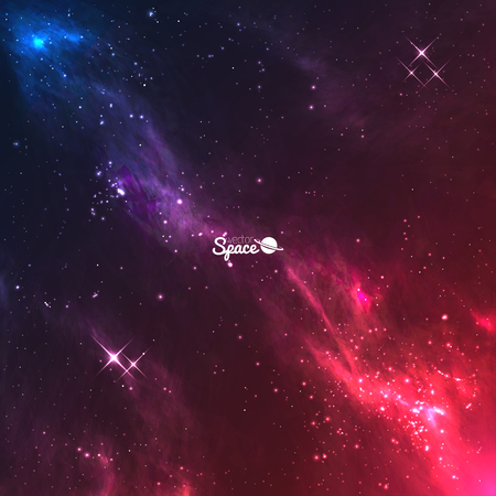nebulae: space galaxy background. Colourful violet-red nebulae with bright stars