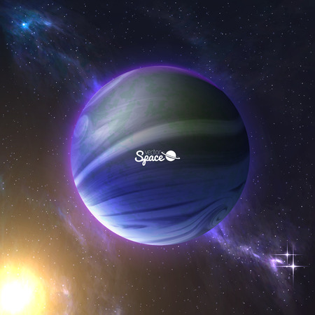 atmosphere: Earth-like planet and the sun behind on space background. Exoplanet with atmosphere. illustration