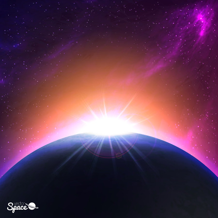 Sunrise over Earth-like planet. Colorful Space background. illustration for your artwork Ilustração