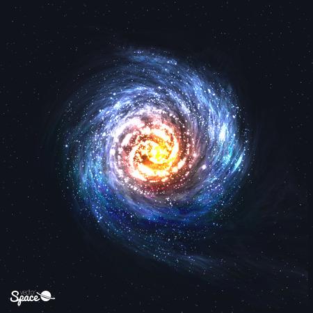 우주 배경에 다채로운 현실적인 나선형 은하. 삽화