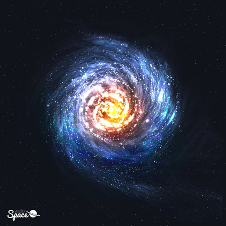 galaxy: Colorful Realistic Spiral Galaxy on Cosmic Background. illustration