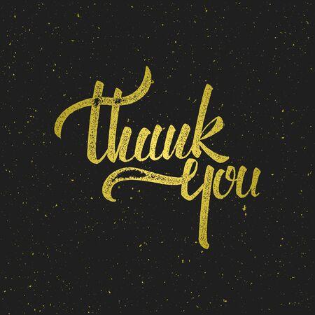 당신은 검은 색 바탕에 황금 텍스처와 글자 감사합니다. 인쇄, 초대장, 인사말 카드 또는 다른 디자인에 대 한 그림