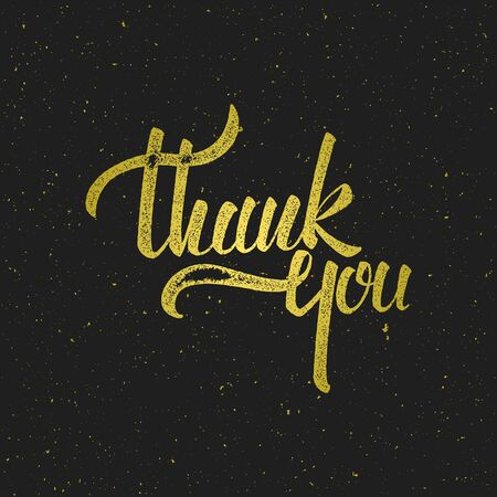 Thank you lettering with golden texture on black background. illustration for print, invitation, greeting cards or other design