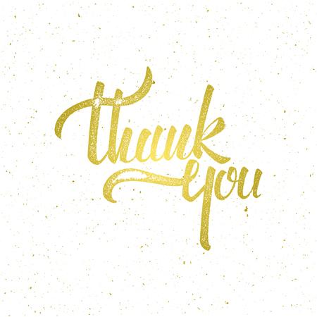 황금은 흰색 배경에 글자 감사합니다. 인쇄, 초대장, 인사말 카드 또는 다른 디자인에 대 한 그림 일러스트