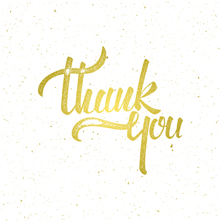 Golden Thank you lettering on white background. illustration for print, invitation, greeting cards or other design Ilustração