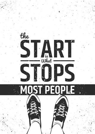 De start is wat stopt de meeste mensen motiverende inspirerende citaat op ruwe achtergrond. typografische concept.