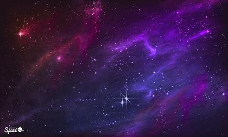 estrellas moradas: Nebulosa estrellada. Fondo del espacio exterior colorido. ilustraci�n