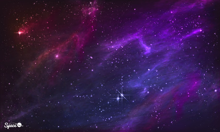 purple stars: Starry Nebula. Colorful Outer Space background. illustration