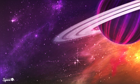 Saturn-like planet with asteroid belt on colorful outer space background. illustration