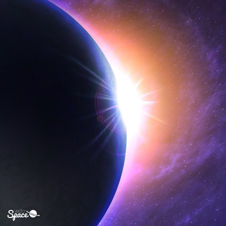 other space: The Sun rising over the Earth. dawn from space point of view on cosmic background. illustration for  presentations or other design