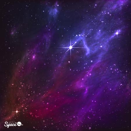 Ciel nocturne colorés avec polaris et nébuleuse pourpre. Vector Illustration